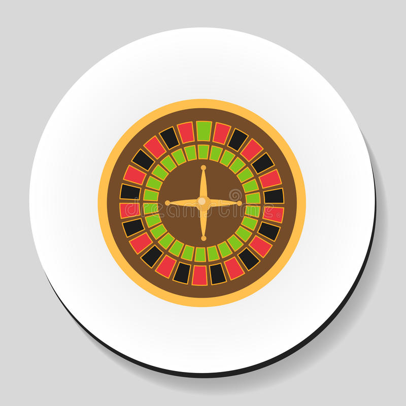 Roulette is a casino game sticker icon flat style. Vector illustration. stock illustration