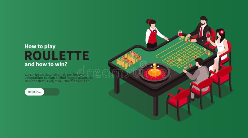 Roulette Casino Isometric Banner royalty free illustration