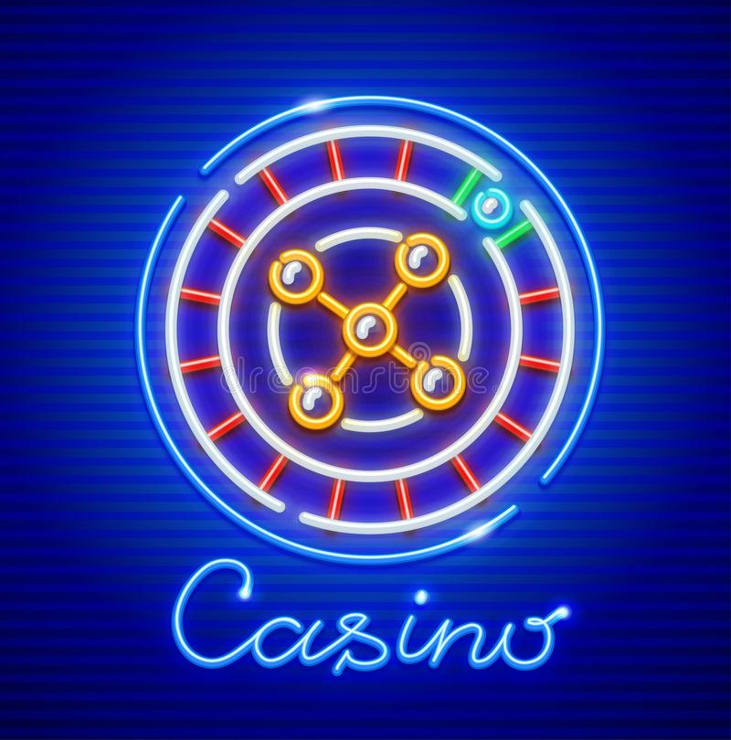 Roulette in casino. Neon icon. Excitable game stock illustration