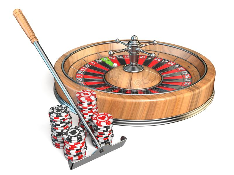 Roulette, casino rake and gambling chips 3D. Render illustration isolated on white background vector illustration