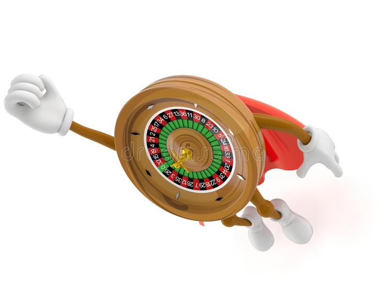 Roulette character with hero cape. Isolated on white background. 3d illustration royalty free illustration
