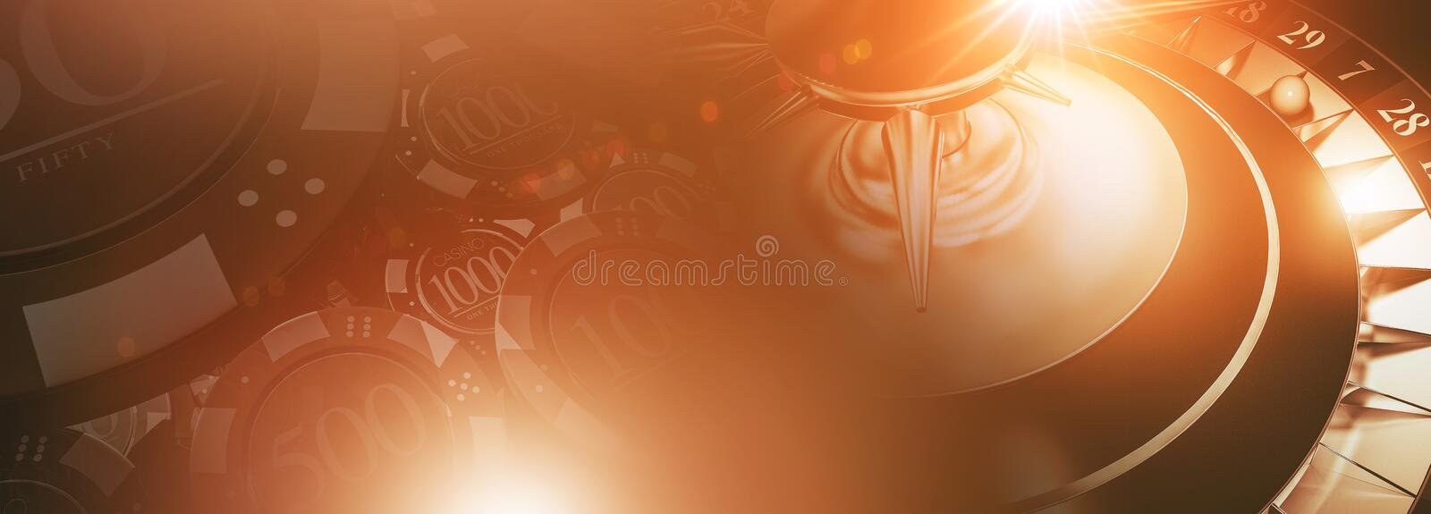 Roulette and Chips Banner royalty free illustration