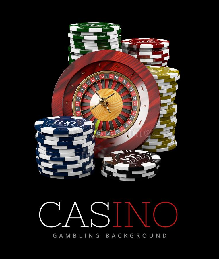 Roulette With Chips Casino Concept 3d Illustration Of Casino Games Elements Stock Image Image Of Rich Backdrop 126504573