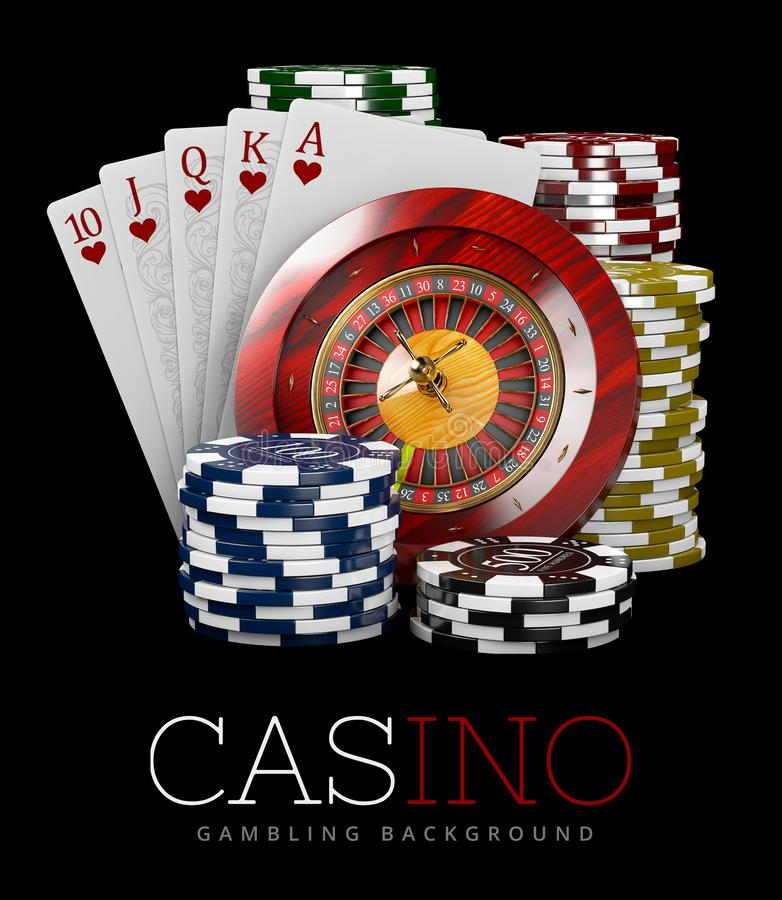 Roulette with Chips and Poker Card, Casino concept, 3d Illustration of Casino Games Elements royalty free illustration
