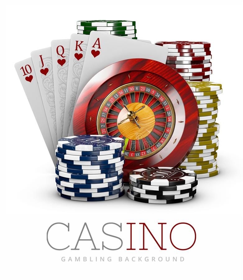 Roulette with Chips and Poker Card, Casino concept, 3d Illustration isolaed white vector illustration