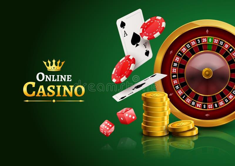 Roulette de casino avec des puces, des pièces de monnaie et la bannière de jeu réaliste d'affiche de matrices rouges Insecte de c illustration libre de droits