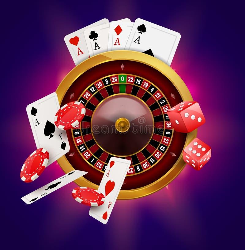 Roulette del casinò con i chip, le monete e l'insegna di gioco realistica del manifesto dei dadi rossi Aletta di filatoio di prog illustrazione di stock