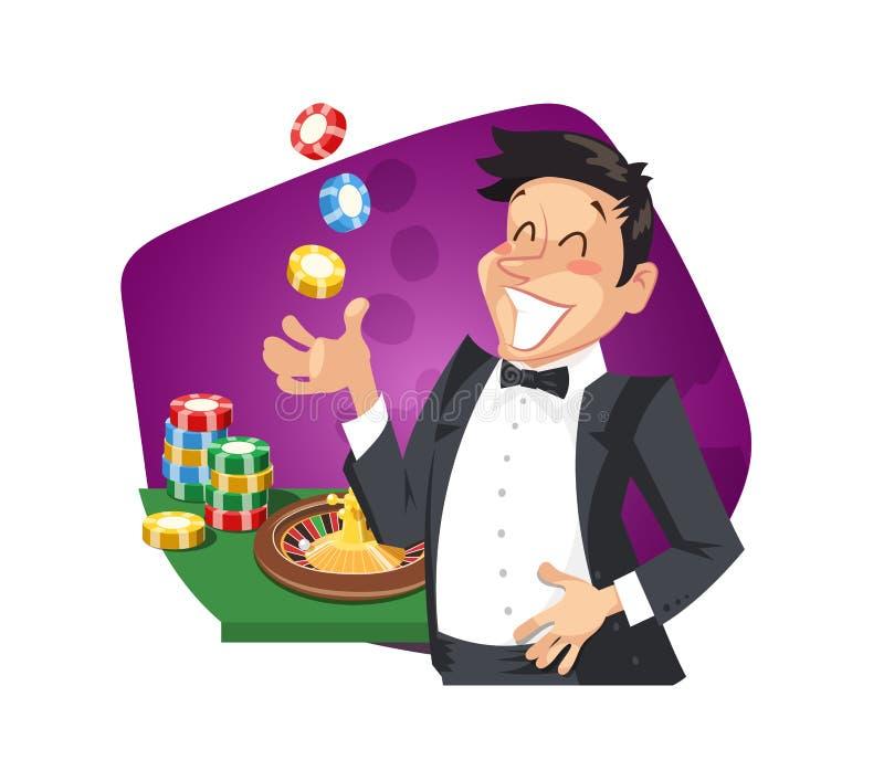 Roulette del gioco dell'uomo in casinò illustrazione di stock