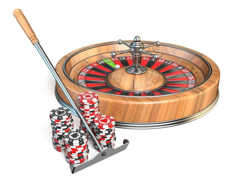 Roulette, el rastrillo y los microprocesadores de juego 3D del casino ilustración del vector