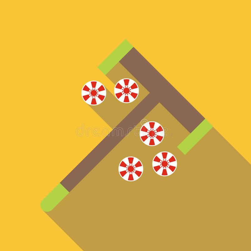 Roulette el rastrillo y salta el icono, estilo plano ilustración del vector