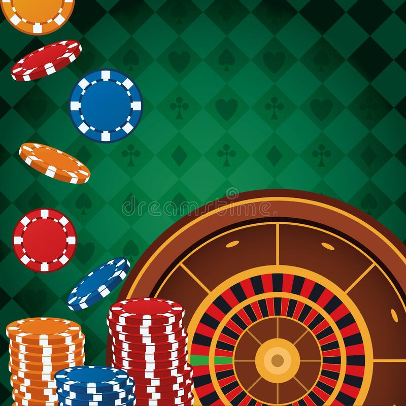 Roulette and falling coins stacked betting game gambling casino. Vector illustration stock illustration