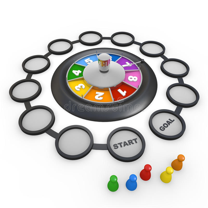 Roulette / Game. Game using the roulette. I play in multiplayer. Simple area. Colorful roulette. Luck determines the outcome royalty free illustration
