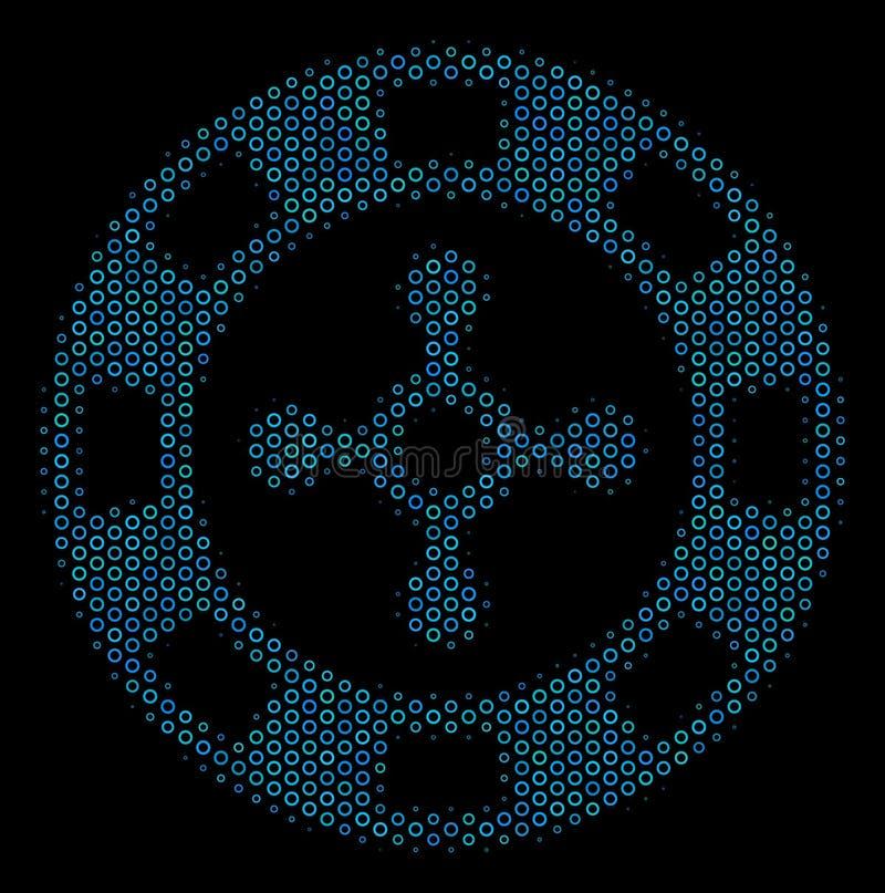Roulette-Kasino Chip Collage Icon von Halbtonkreisen stock abbildung