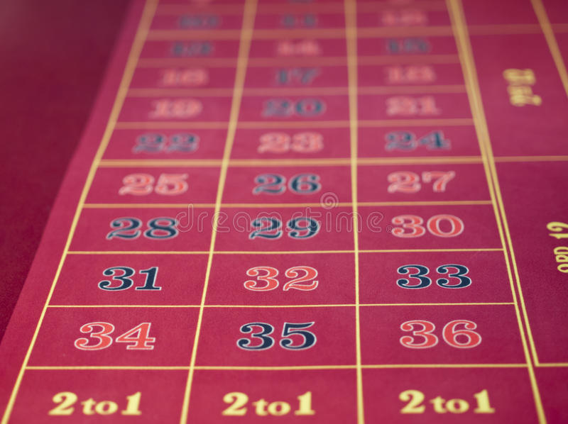 Roulette layout in a casino stock images