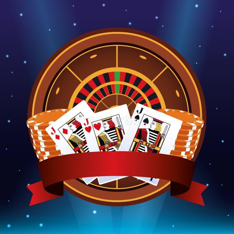 Roulette poker cards chips banner betting game gambling casino. Vector illustration stock illustration