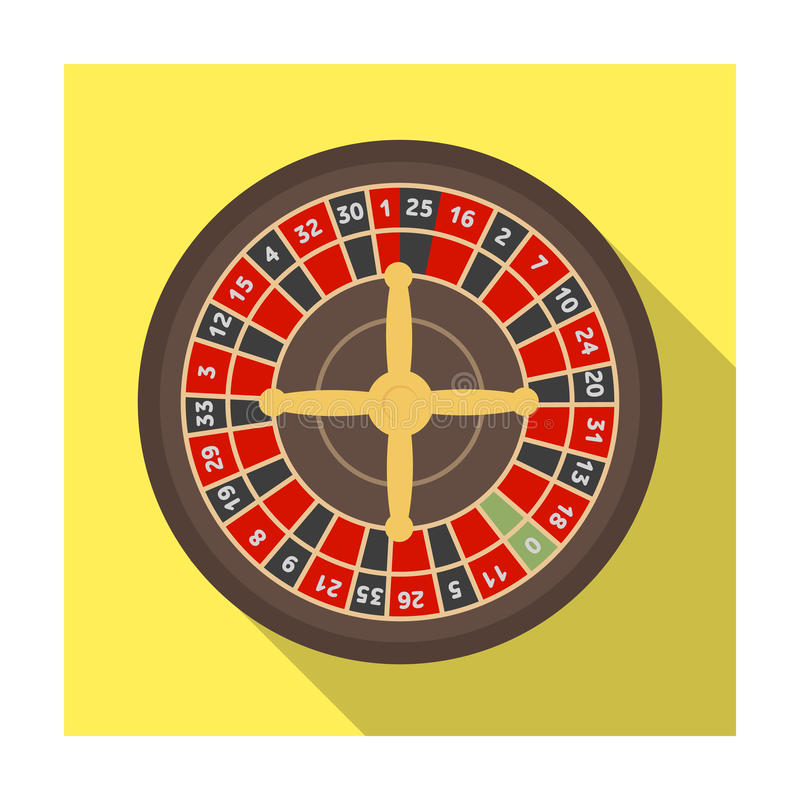 Roulette with red and black cells. The most popular casino game in the world.Kasino single icon in flat style vector royalty free illustration