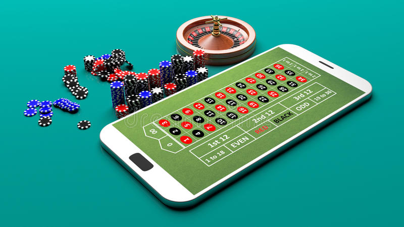 Roulette on a smartphone. 3d illustration. Roulette on a smartphone on green background. 3d illustration royalty free illustration