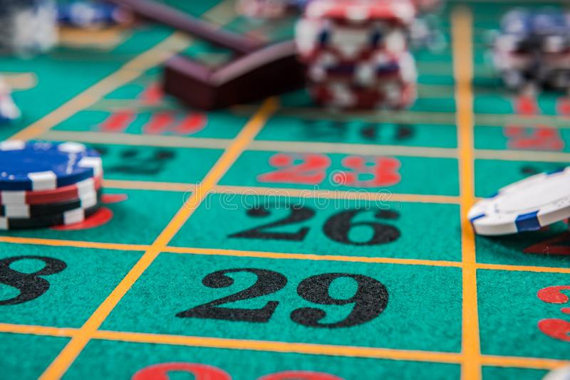 Roulette table, casino betting and gambling concept royalty free stock photo