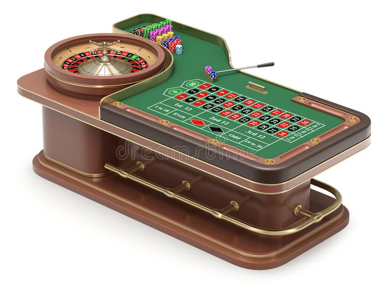 Roulette table with chips stock illustration. Illustration of game -  154672925