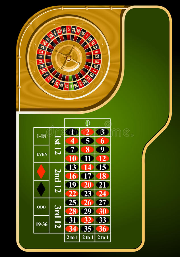 Roulette table layout. European casino roulette table layout Directly Above stock illustration