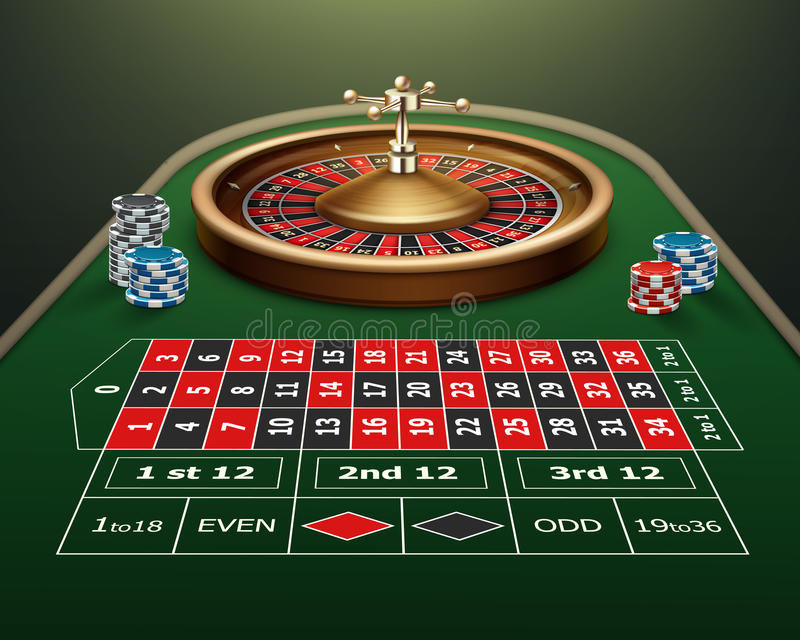 Roulette table and wheel vector illustration