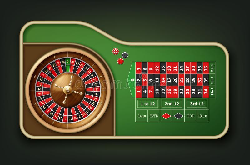 Roulette table and wheel royalty free illustration