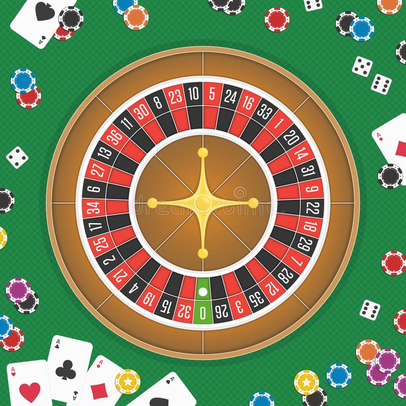 Roulette wheel background. Casino night background. Chips, Coins, Dice and Roulette Wheel set. Online casino poker table concept design. Gamble concept. Vector vector illustration