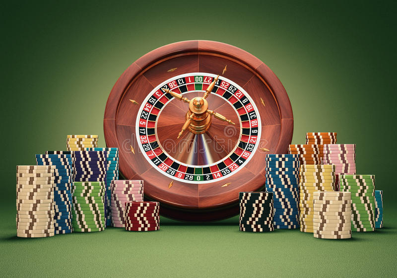 Roulette Wheel Chips royalty free stock photos