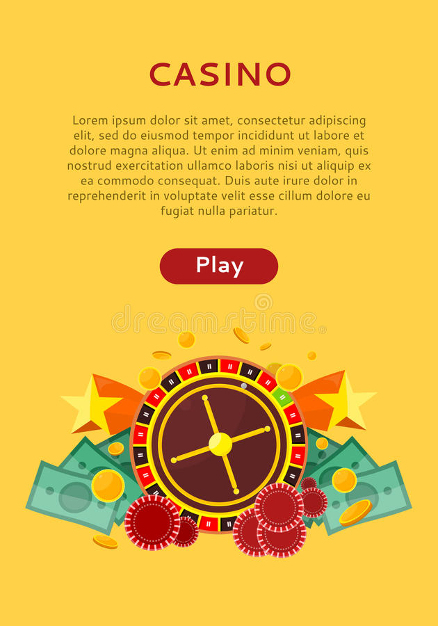 Roulette Wheel, Coin Dice Money Chip Star Isolated vector illustration