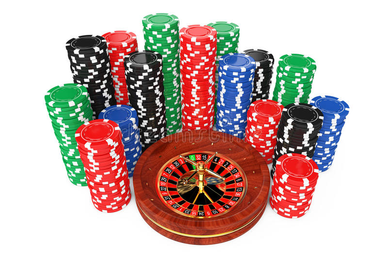 Roulette Wheel with Colorful Poker Casino Chips. 3d Rendering. Roulette Wheel with Colorful Poker Casino Chips on a white background. 3d Rendering stock illustration