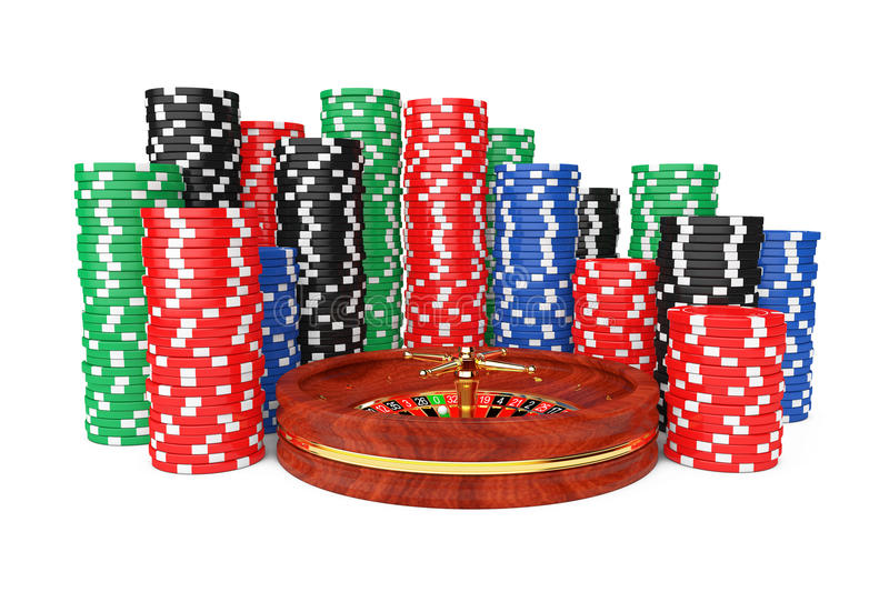 Roulette Wheel with Colorful Poker Casino Chips. 3d Rendering stock illustration