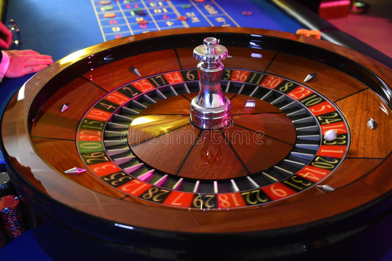 Roulette wheel gambling stock photo