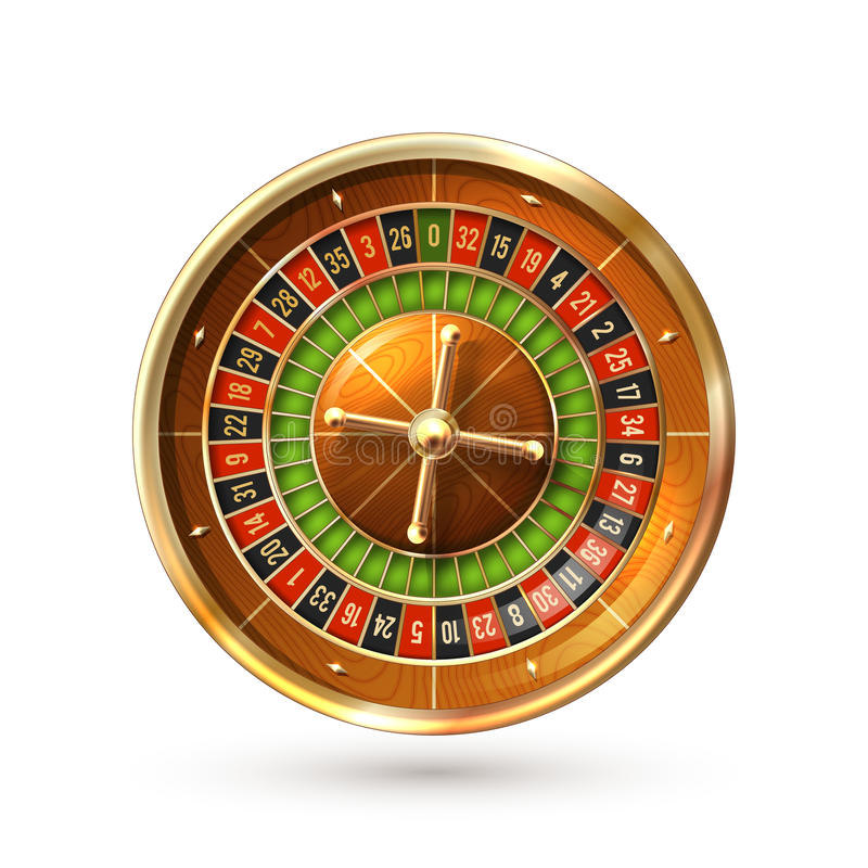 Roulette Wheel Isolated. Realistic casino gambling roulette wheel isolated on white background vector illustration royalty free illustration