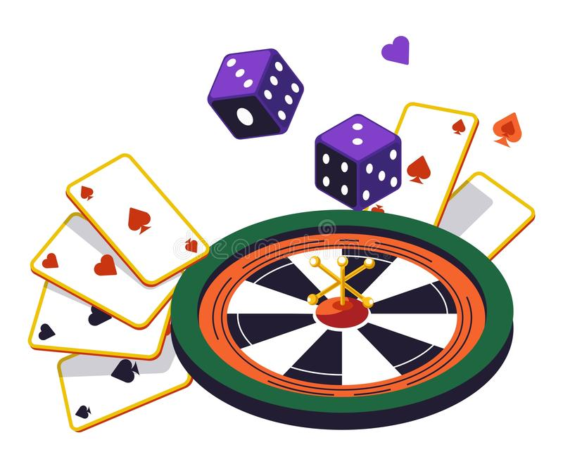 Roulette wheel and play cards, dices, online casino club royalty free illustration