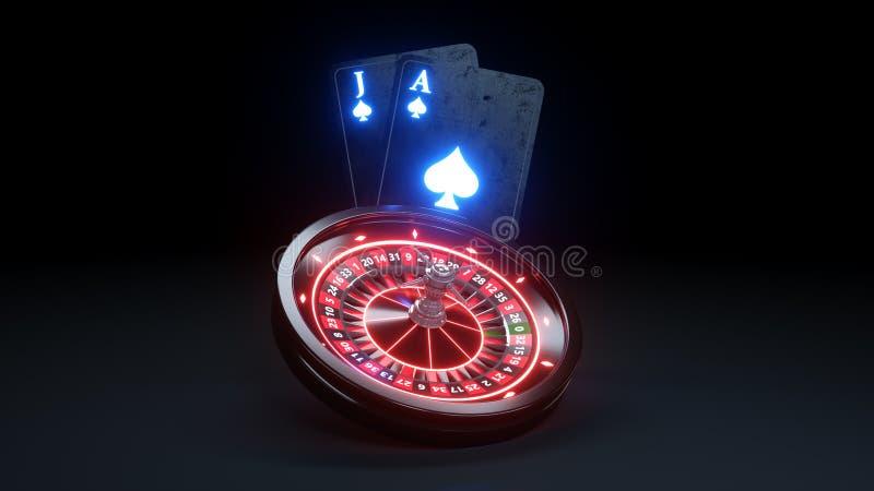 Roulette Wheel and Poker Cards Black Jack Futuristic Casino Concept Design - 3D Illustration. Casino Gambling Futuristic Concept, Roulette Wheel and Poker Cards stock illustration