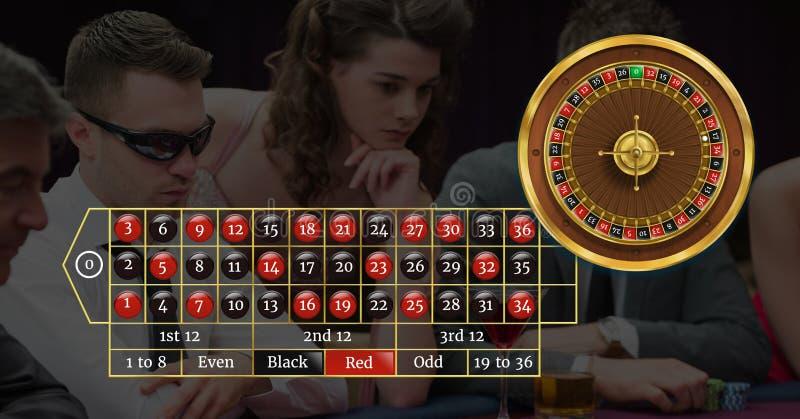 Rouletteinterface en spelers in casino stock foto