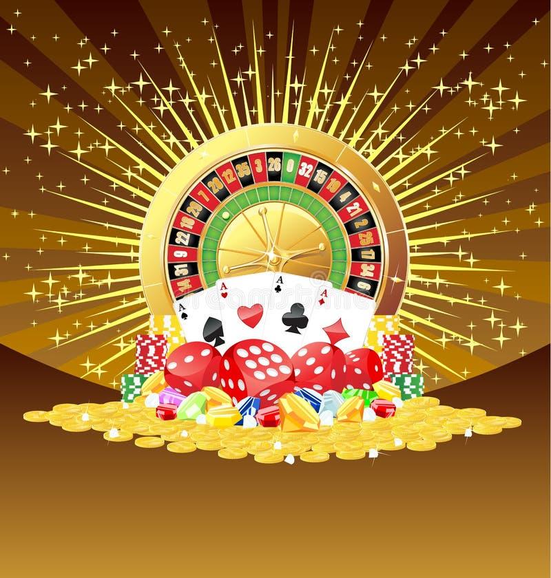Rouletten cards, tärnar, chiper, gemstones och guld- myntbakgrund royaltyfri illustrationer