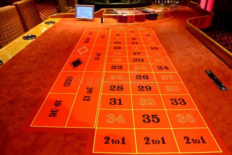 Rouletttabell i en kasino royaltyfri fotografi