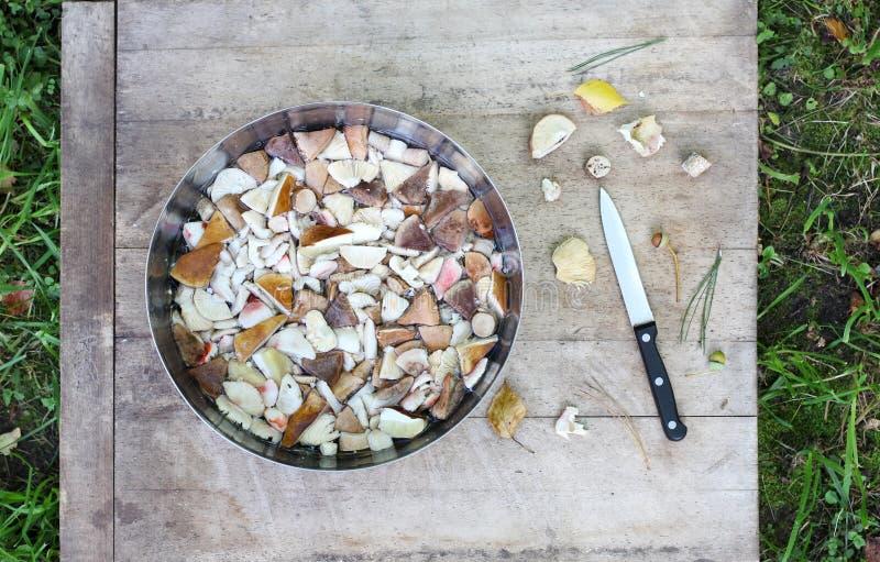 Roulez avec des morceaux de champignons de forêt, de couteau et de feuilles d'automne comestibles sur la table en bois, fond d'he photographie stock libre de droits
