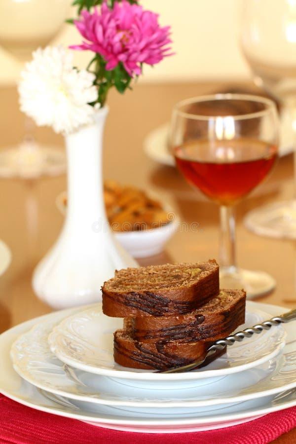 Roulis de biscuit de chocolat de dessert image libre de droits