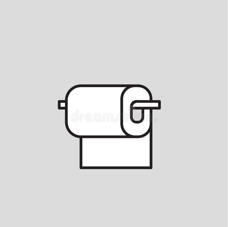 Roulis de papier hygiénique Icône de conception de bande dessinée Illustration plate de vecteur D'isolement sur le fond gris illustration stock