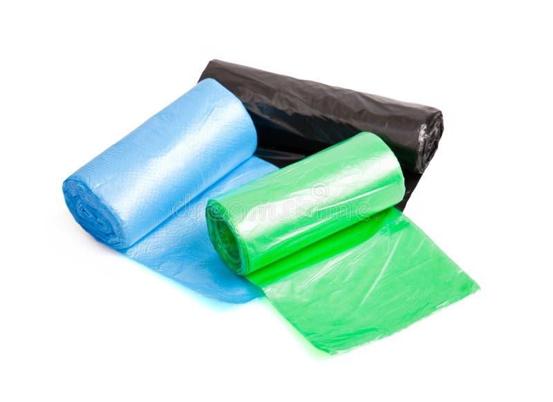 Roulis de sacs de déchets images stock