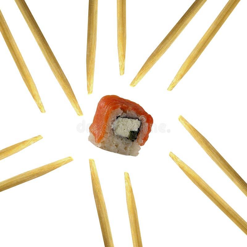 Roulis de sushi d'isolement sur le fond blanc images stock
