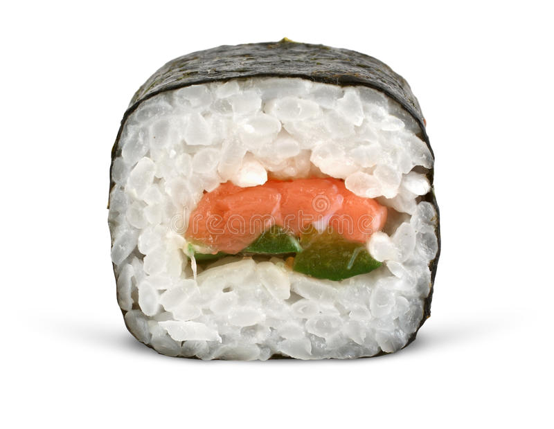Roulis de sushi sur le blanc images stock