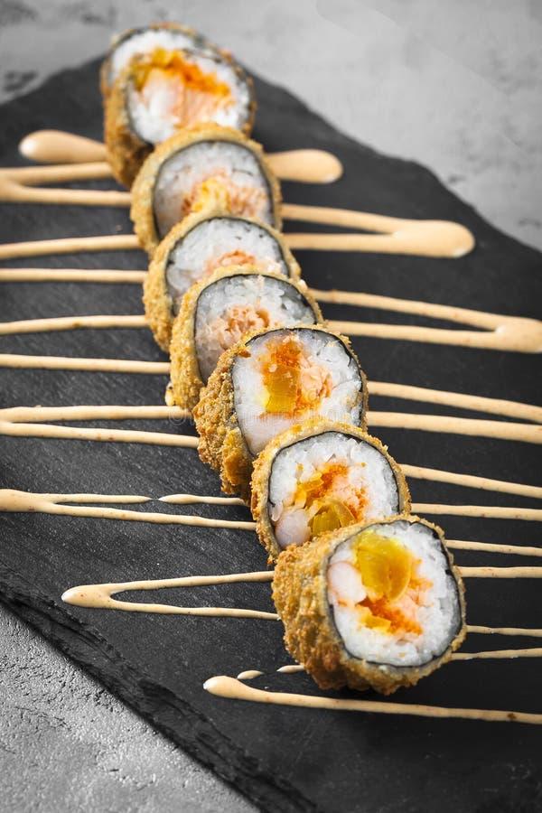 Roulis de sushi Vue supérieure photographie stock libre de droits
