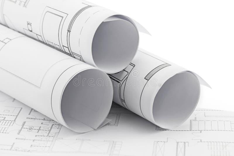 Roulis et plans d'architecte photographie stock libre de droits
