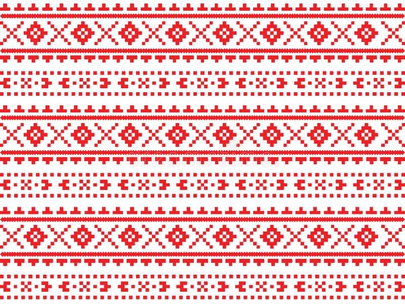 Roumain, Ukrainien, modèle sans couture de broderie rouge biélorusse photographie stock