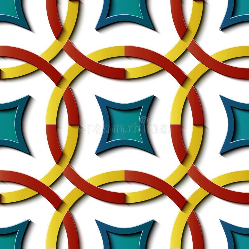 Roun coloré en soulagement de sculpture modèle sans couture de décoration de rétro illustration stock