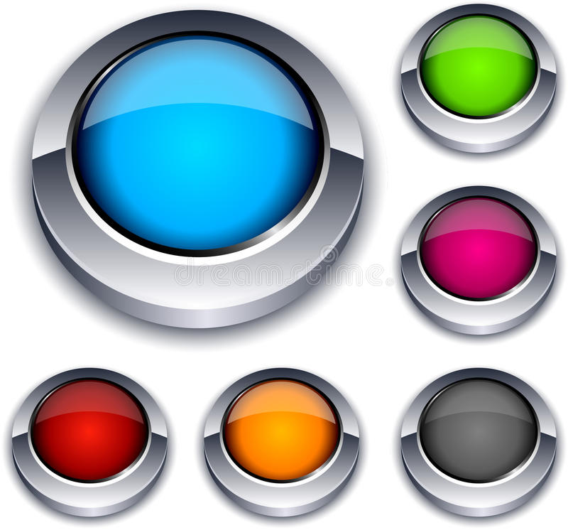 Round 3d buttons. Illustration of Blank 3d round buttons stock illustration