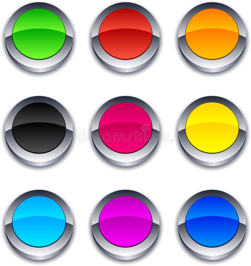 Free Round 3d Buttons. Royalty Free Stock Photography - 18519677